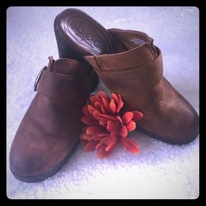 B.O.C. Distressed Brown Leather Clogs with Buckle
